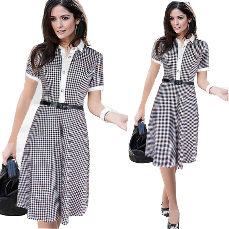 2016 New Brand Summer Mini Dress For Girl Plaid Style Short Sleeve Girls Above Knee Mini