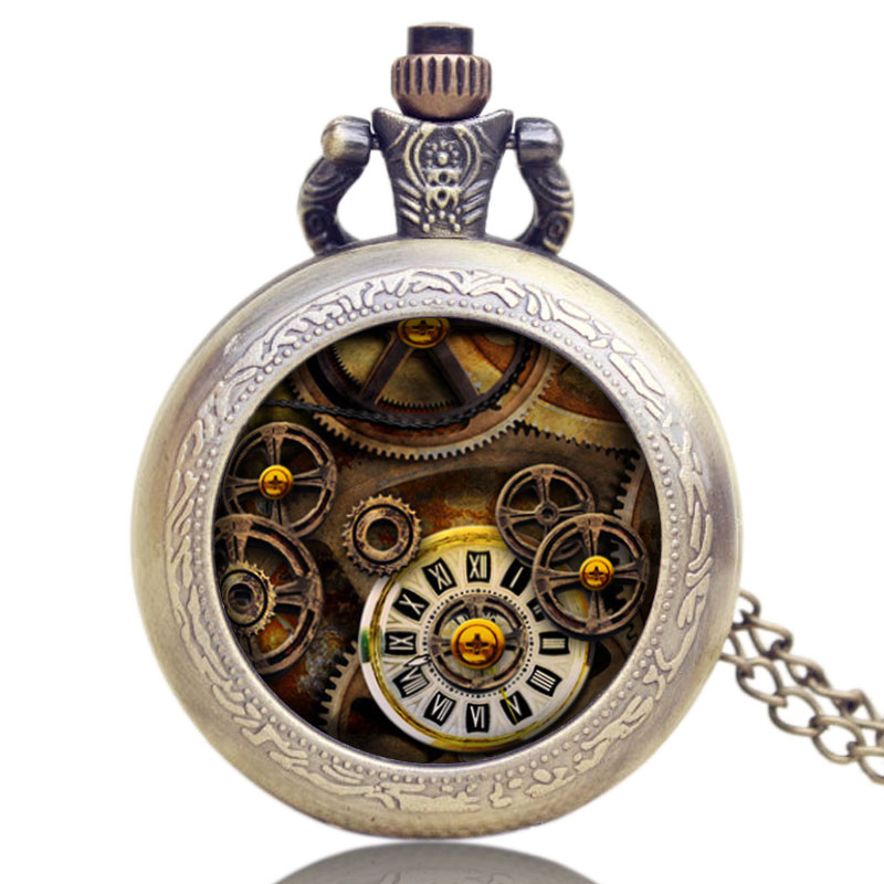 Antique Bronze Style Pendant Retro Gear Small Necklace Pocket Watch Quartz Steampunk Gift for Men Women Watches Gifts guess w0911l5