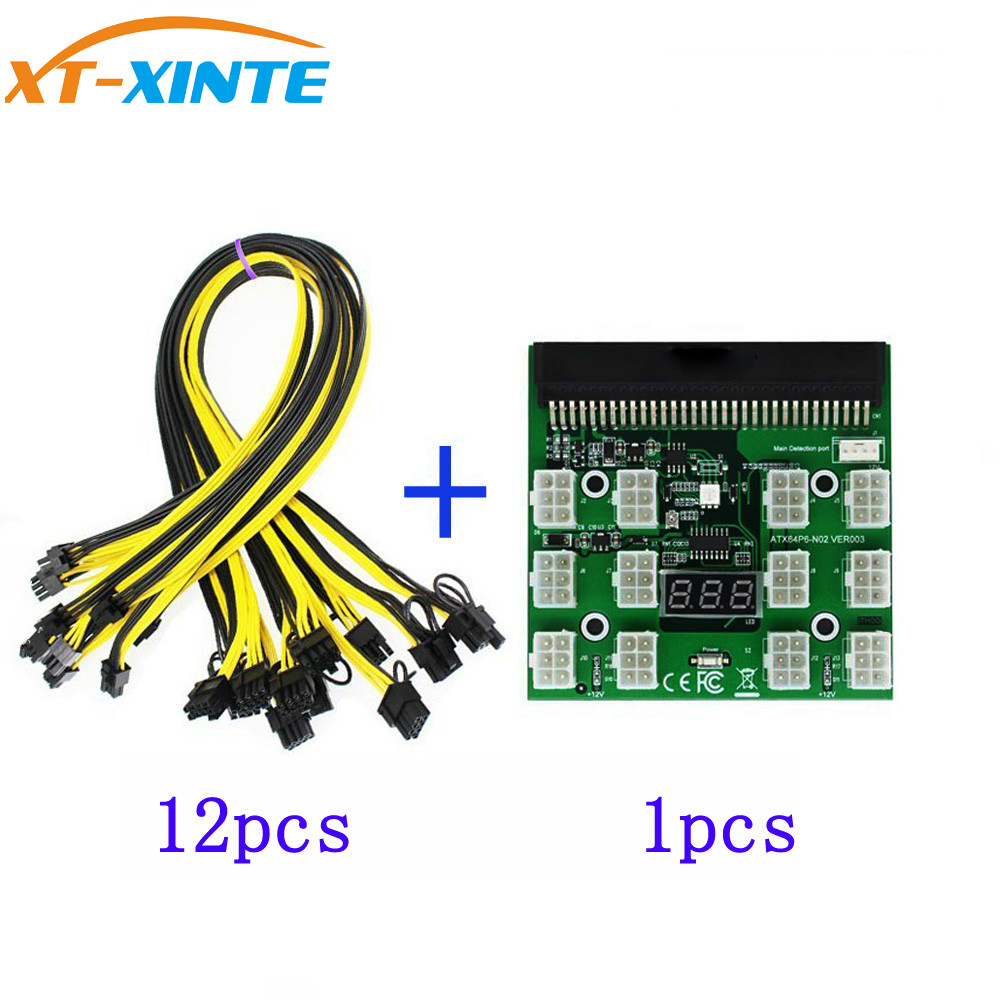 PCI-E 12V 64Pin to 12x 6Pin Power Supply Server Adapter Breakout Board + 12Pcs 6Pin Power Cable for HP 1200W 750W PSU GPU Mining 10pcs 6pin pci e to 24pin female to male power supply adapter cable for server with 20cm wire 18awg