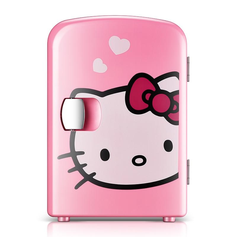 Hello Kitty 4L Mini réfrigérateur voiture électrique refroidisseur voiture maison double usage petit réfrigérateur Portable Dc 12 v réfrigération glacière