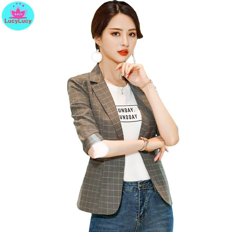 2019 Korean Version Of The Summer Short Paragraph Casual Suit Professional Dress Plaid Small Suit Jacket Female