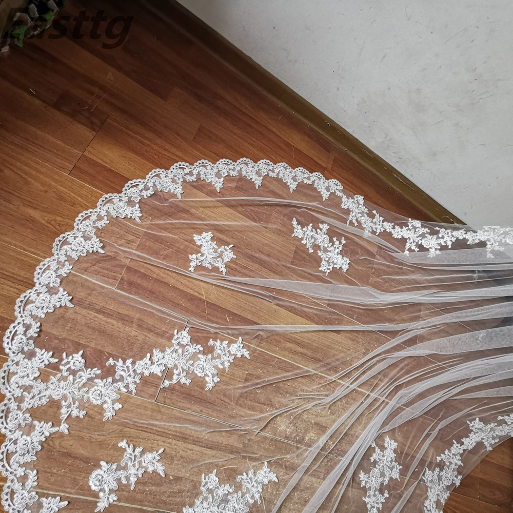 Image 1 - 2019 New Real Photos White/Ivory Bridal Veil Appliqued Mantilla velos de novia Wedding Veil Long With Comb Wedding AccessoriesBridal Veils   -