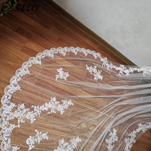 2019 New Real Photos White/Ivory Bridal Veil Appliqued Mantilla velos de novia Wedding Veil Long With Comb Wedding Accessories
