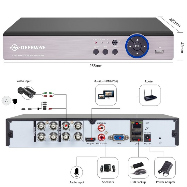 DEFEWAY 8CH 1080N HDMI DVR 1200TVL 720P HD Outdoor Security Camera System 8 Channel CCTV Surveillance DVR Kit AHD Camera Set