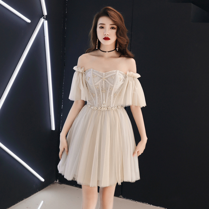 Mini Beading Sweet Lady Dress Off The Shoulder Elegant Chinese Cheongsam Flare Sleeve Evening Party Mesh Dresses Robe De Soiree