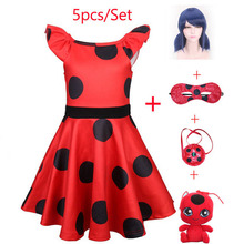 2019 New Baby girls Lady Bug Red Dot birthday Party Dress princess Costume Kids Girl Clothes Moana Ladybug Cosplay Dresses 3-10Y