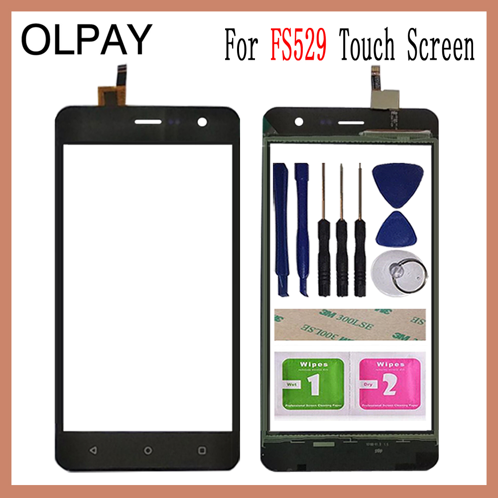 OLPAY 5.0 Inch Tested Front Outer Glass For Fly Champ FS529 FS 529 Touch Screen Digitizer Panel Lens Sensor Tools Adhesive+Wipes