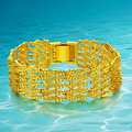 Real Plated 24K Gold Plated Bracelet 18CM 20MM Hollow Big Chain Link  Bracelet Fashion Jewelry Gift For Men/Women