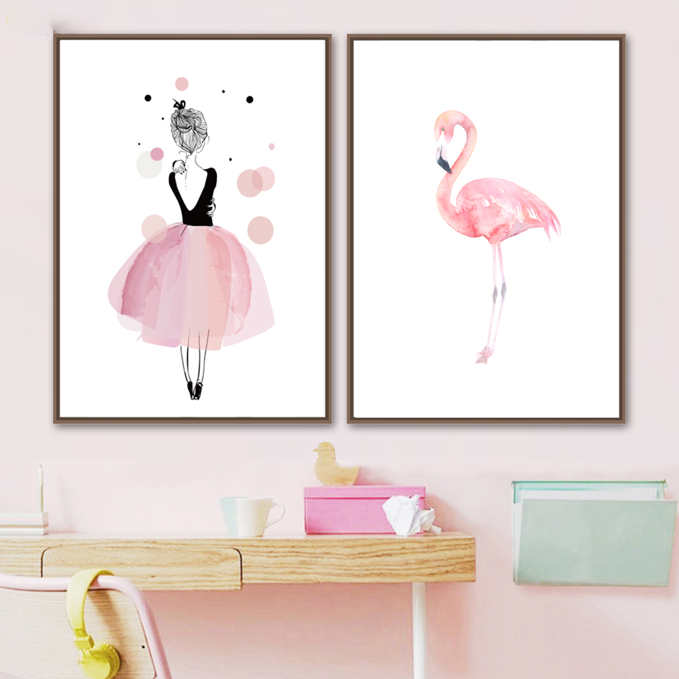 Canvas Printed Poster Home Decorative Watercolor Animal Flamingo Girl Nordic Painting Wall Artwork Pictures Living Room Modular