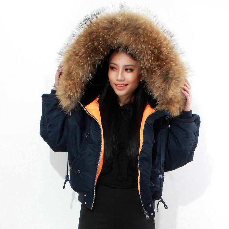 Chic Winter parkas Army Green bomber jacket Large Fur Colloar ...