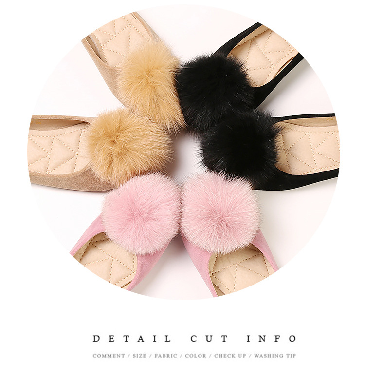 Liren 2019 Summer New Fashion Sweet Lady Flock Fox Hair Ball Style Sandals Flat Heels Round Wrapped Toe Women Sweet Shoes in Women 39 s Vulcanize Shoes from Shoes