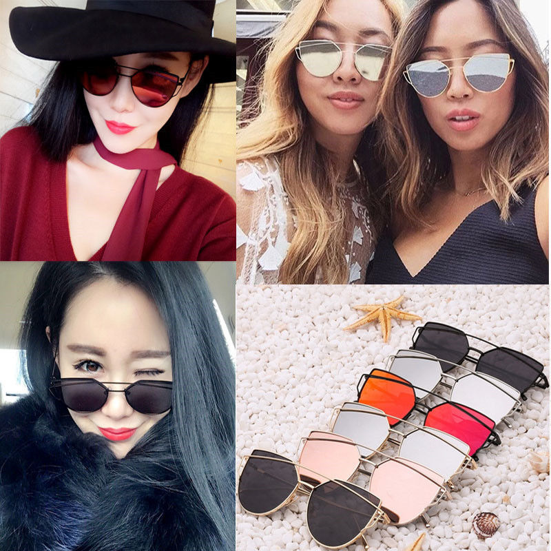 2017 Summer Retro Womens Mirror Sunglasses Metal Frame Golden Leg Cat Eye Shades Eyeglasses