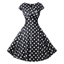 2019 New Women Summer Dresses Vestidos Vintage Floral Print Party Dress Plus Size Polka Dot Rockabilly Work Wear Clothes
