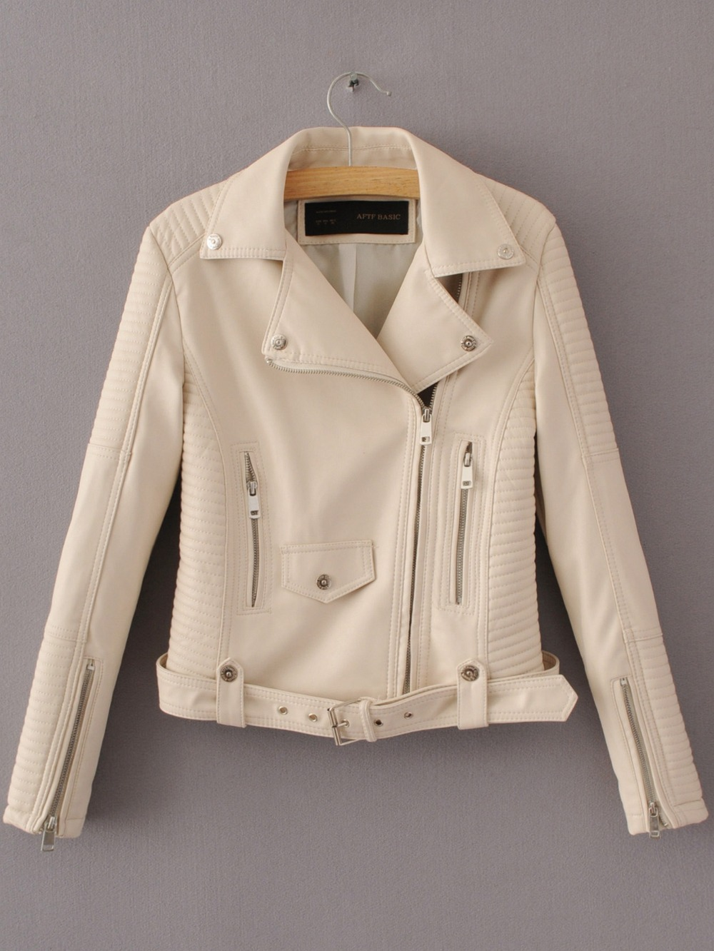 great deals 2017 reasonably priced cozy fresh US $32.09 26% OFF|Women faux leather jacket black beige Biker Jackets  Aviator coat new Short motorcycle Coats with Belt Female S XL Jaqueta  couro-in ...