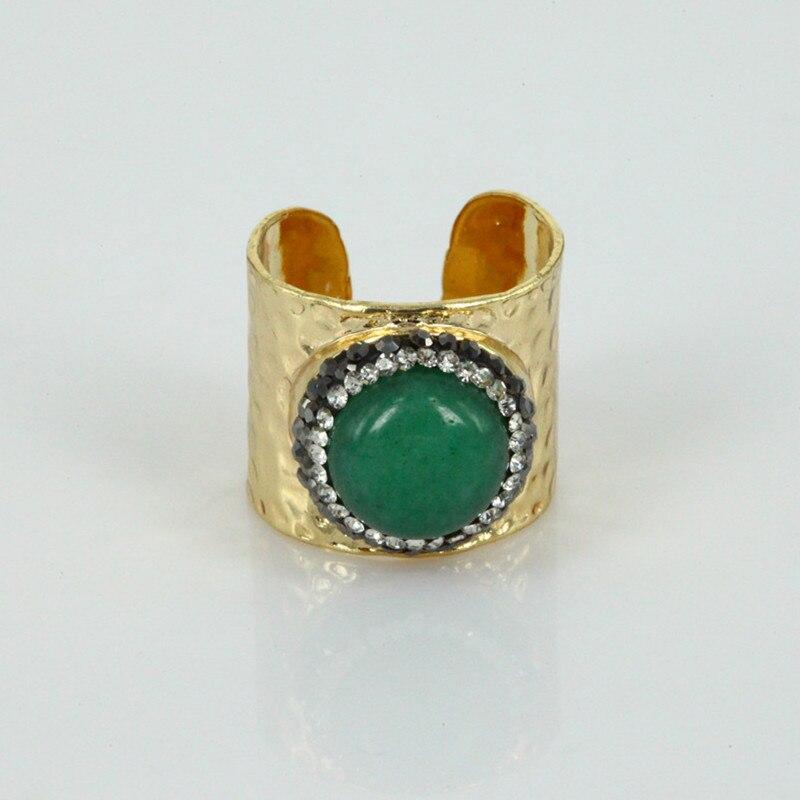 Charmes bijoux vert pompe convexe ovale vert gem pierre or argent plaqué creux base réglable griffe ensemble anneau pour les femmes