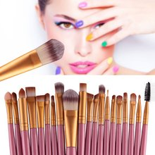 20 Pcs Makeup Set Powder Foundation Eye shadow Eyeliner Lip Cosmetic Brushes Kit 15 colors Makeup Brush