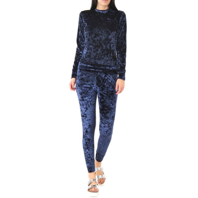 Women Ladies Crushed Velvet Lounge Suit Sweatshirt Pant Women Lounge Wear Sets Tracksuit