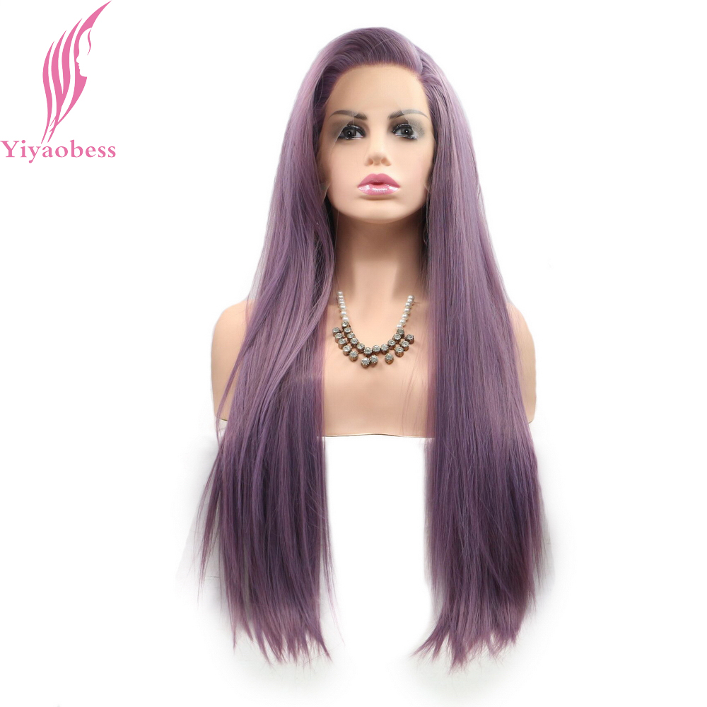 Yiyaobess White Red Purple Orange Grey Brown Straight Lace Front Wig Black Long Synthetic Lace Wig