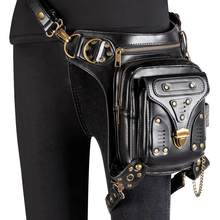 Black PU Leather Rivet & Chain Steampunk Waist Belt Bag Women & Men Gothic Handbag Vintage Motorcycle Shoulder Crossbody Bags(China)