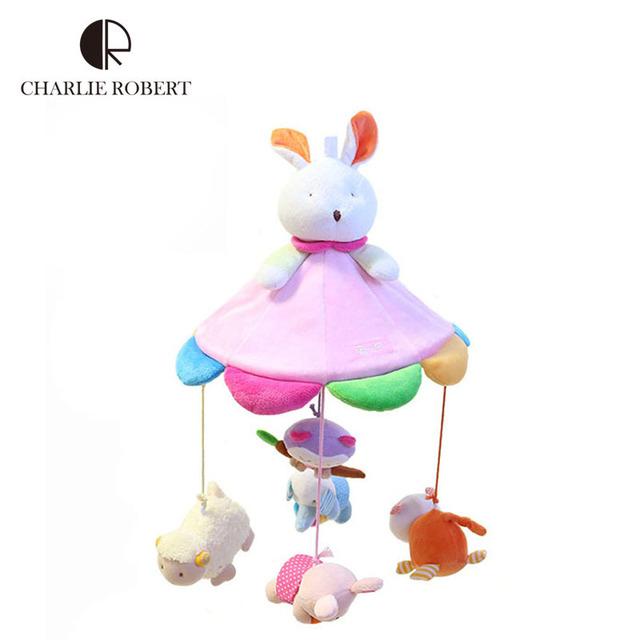 2015 Kawaii animais coloridos brinquedo do bebê 0 - 12 meses de alta qualidade móvel música educacionais do bebê chocalhos cama carrinho de criança pendurada HK611
