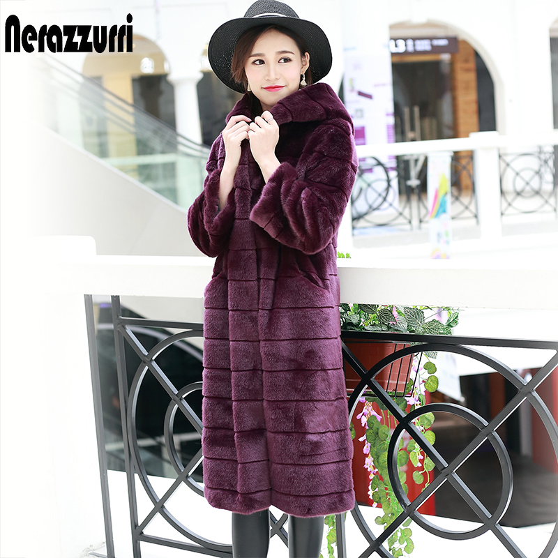 Nerazzurri Long Faux Fur Coat Women With Hood Long Sleeve Purple Furry Fake Fur Overcoat Striped Thick Warm Winter Fluffy Coat
