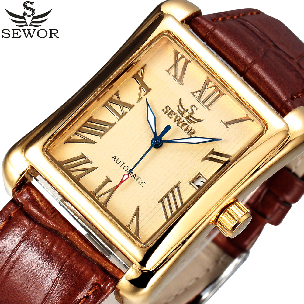 SEWOR Brand Auto Date Roman Rectangle Automatic Watch Gold Leather Strap Business Mechanical Watches Relogio Masculino цены