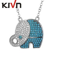 KIVN Fashion Jewelry Pave CZ Cubic Zirconia Lucky Animal Elephant Pendants Necklaces For Womens Girls Birthday