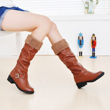 2016 new women's low-heeled high boots knight boots motorcycle boots warm winter boots size 35-43