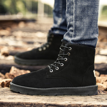 Men Winter Snow Ankle Boots 2017 Slip on Flock Leather Waterproof Rain Boot Plush Warm Fashion Snow Boots Men Trainers Tenis
