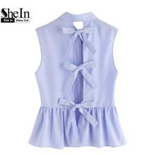 Shein рубашки женщин синий блузки женщины блузки лето симпатичные полосатый галстук-бабочку сплит вернуться рукавов баски рубашка(China (Mainland))
