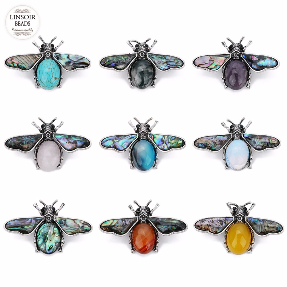 1pc lot Mother of Pearl Shell Natural Paua Abalone Shell Pendants Green Aventurine Bee Pin Brooches for DIY Insect Jewelry F7644 in Pendants from Jewelry Accessories
