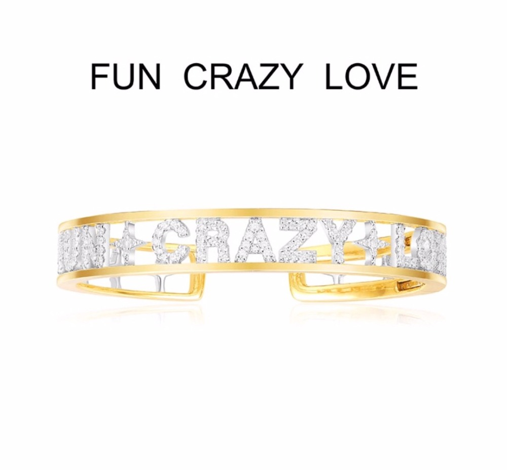 925 Sterling Silver Gold Color letter FUN CRAZY LOVE Bangle cuff cubic zirconia alphabet letter MONACO Bracelet цены онлайн