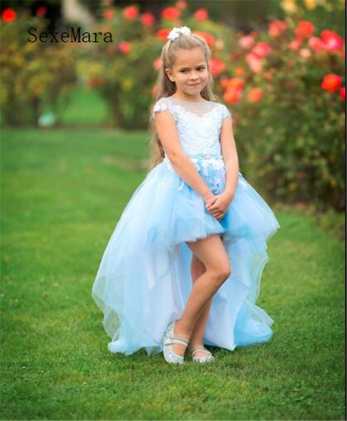 Blue   Flower     Girl     Dress   Sexy High Low   Dress   For Little   Girls   with Long Train Sash Attached Some Pearls Crystals High Quality
