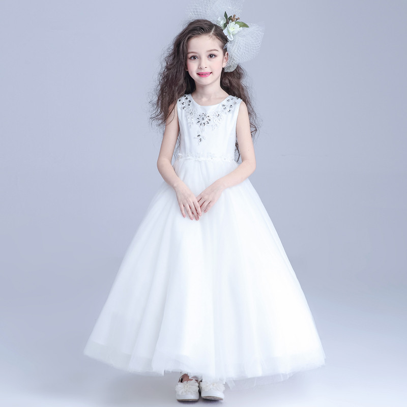 Latest White Long Formal Girls Dresses For Party Children Princess Flower Girl Vestidos Kids Clothes 2017 Summer AKF164019 girls short in front long in back purple flower girl dress summer 2017 girl formal dress kids party princess custume skd014283