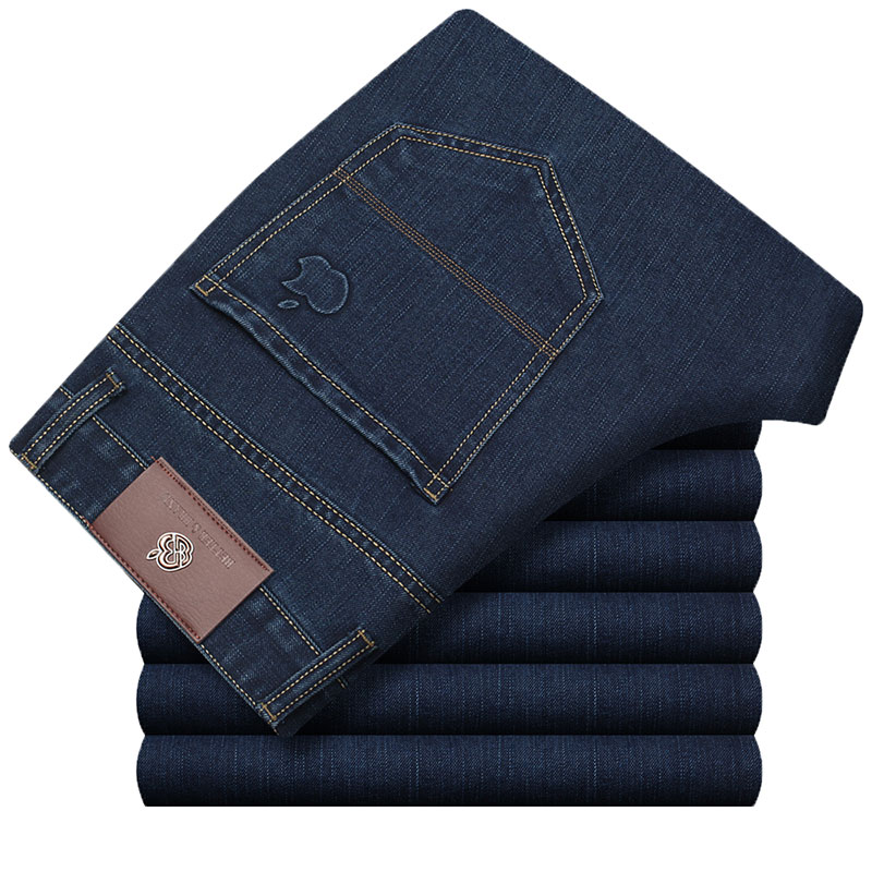 Men Cotton Straight Classic Jeans Blue Baggy Plus Size Spring Autumn Men's Denim Pants Straight Designer Trousers Male HLX137 xmy3dwx n ew blue jeans men straight denim jeans trousers plus size 28 38 high quality cotton brand male leisure jean pants