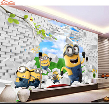 ShineHome-Cute Yellow Minions Brick Wallpaper 3d Wall Paper Mural Rolls Wallpapers 3 d for Livingroom Kids Baby-room Bedroom Art
