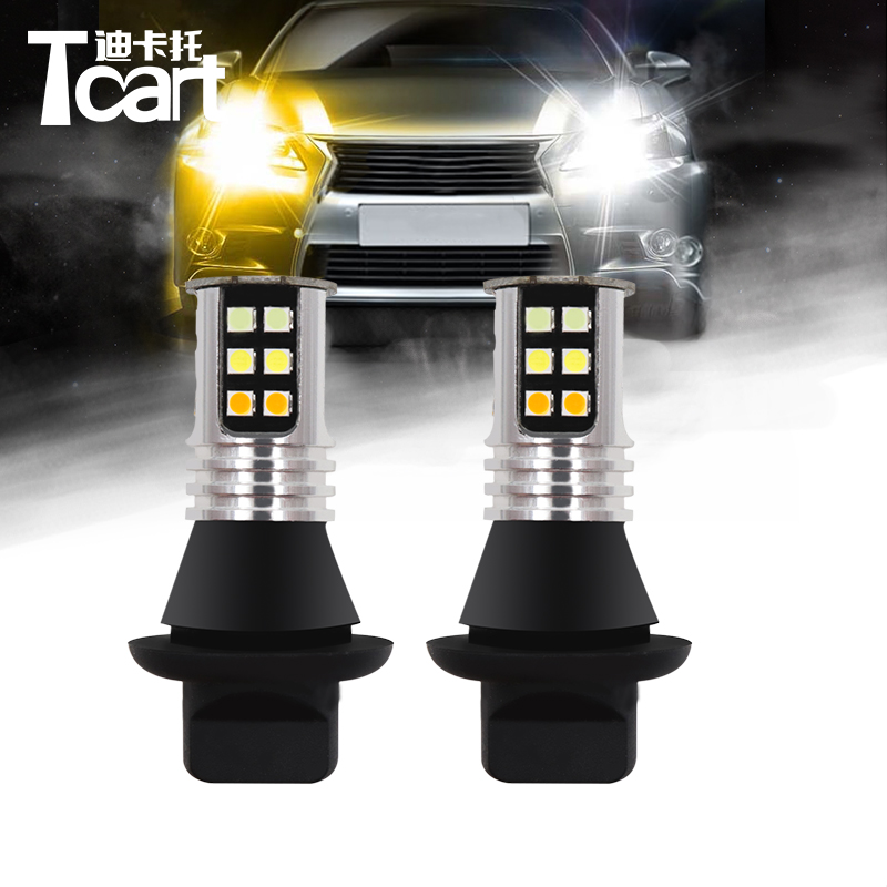 Tcart T20 7440 WY21W For <font><b>Mazda</b></font> CX-7 <font><b>CX7</b></font> 2006-2009 <font><b>LED</b></font> DRL <font><b>LED</b></font> Daytime Running Light&turn signal light all in one high power image