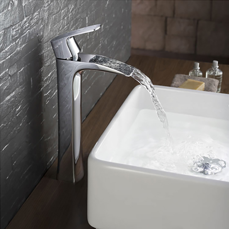 Waterfall Faucet Chrome-plated Brass Contemporary Fashion Art Ceramic Valve Core Bathroom Basin Hot and Cold Water Mixer Tall