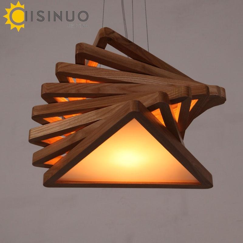 Moderní umění Dřevěný přívěsek Světla šňůra Závěsné dřevo Akrylová žárovka E27 Lampy Jídelna Restaurace Retro svítidla Svítidlo