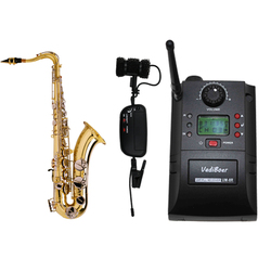 Portable Clamp Clip on UHF Instrument Wireless Microphone System With Receiver & Transmitter 32 Channels For Saxophone
