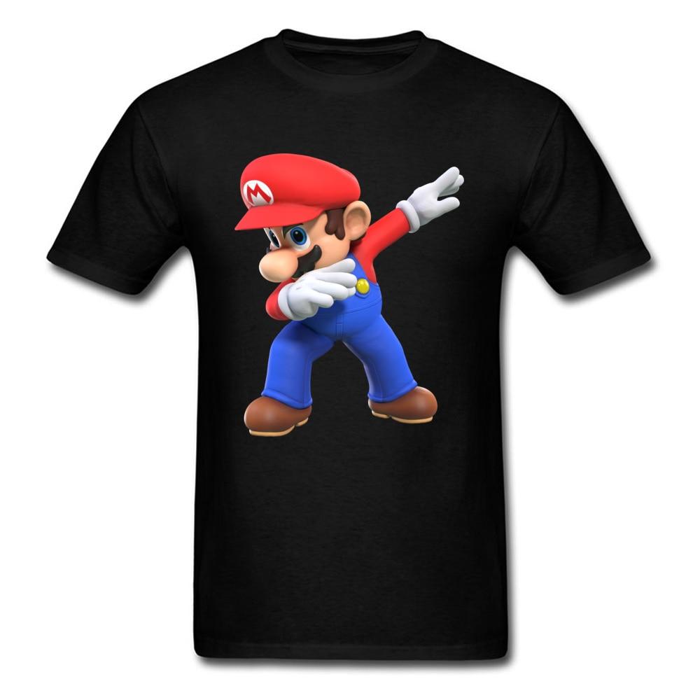 2018 Men T Shirts Round Neck Short Sleeve 100% Cotton super mario bros825yy T Shirt Printed On Top T-shirts Wholesale super mario bros825yy black