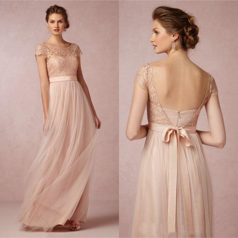 Elegante una línea De dama De honor vestidos Pink Tulle y del cordón ...