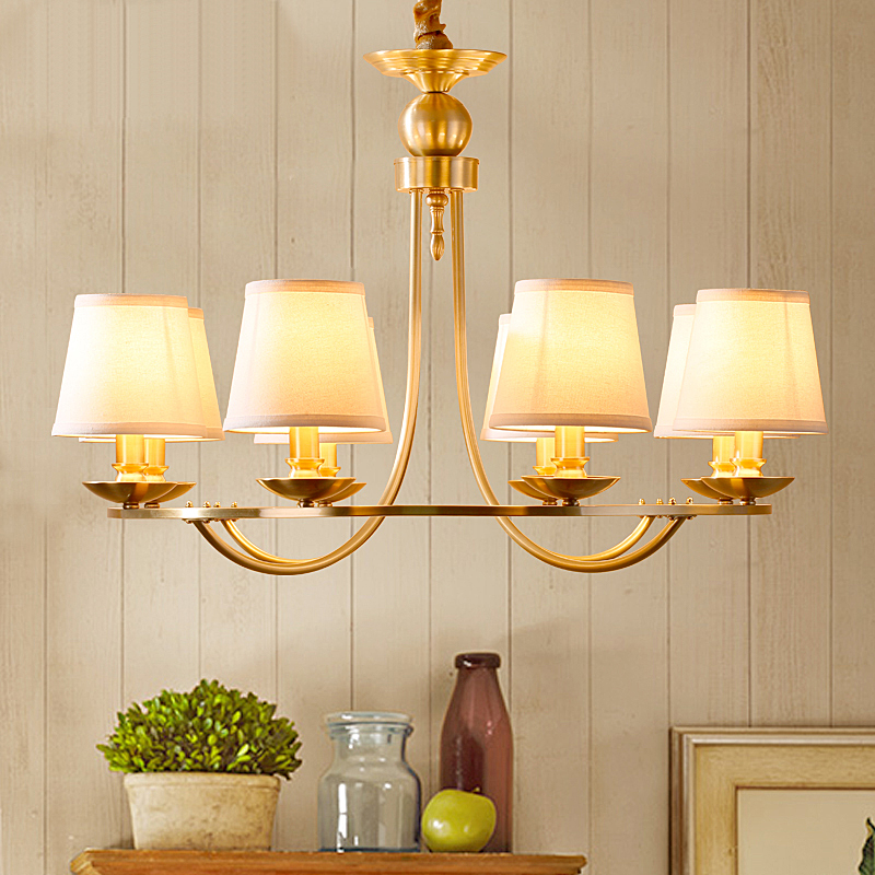 American copper living room chandelier simple modern dining room bedroom countryside Nordic retro lamps LO7218