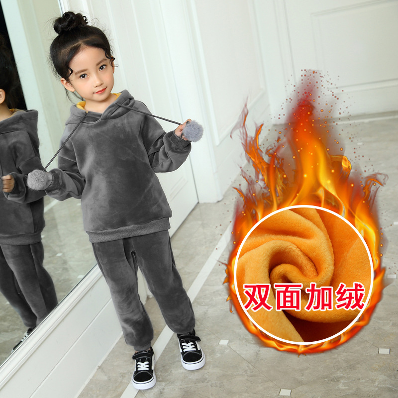 winter kids clothing set baby girl and boy's outerwear jacket and trousers wram clothing fleece coat fit 80cm t0 140cm height baby winter outerwear