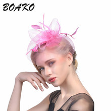 BOAKO Women Wedding Fascinator Hat Hair Clips Feather Mesh Veil Bands Accessoreis Ladies Dress Headband Headwear