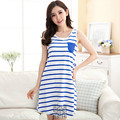 On Sale!New Nightie for  Women Sleepshirts Plus Size XXL Blue Stripes Dress Shirts Lady Sleepshirts Nightdress Sweet Cute Nighty