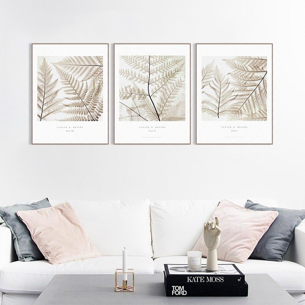 Modern Minimalist Plant Leaves Cotteage A4 Large Canvas Art Print ...