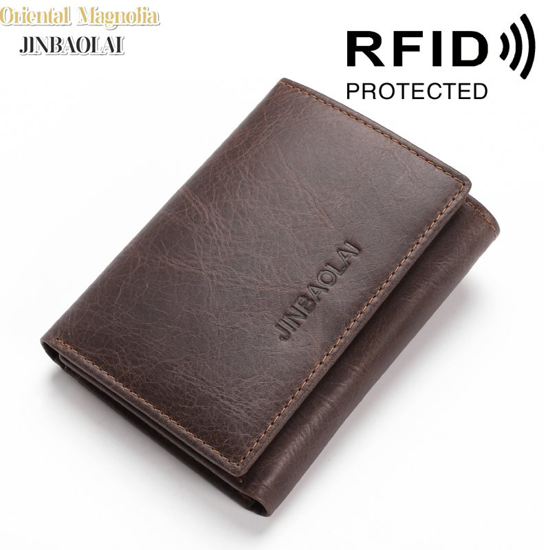JINBAOLAI RFID Blocking Genuine Leather Wallets 3 Fold Short Male Clutch Leather Wallets Credit Card Holder Carteira Purses Bags