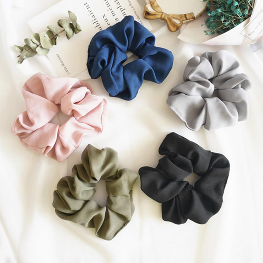 Women/'s Rubber Hairband Elastic Hair Rope Ponytail Holder Pure Color Headwear