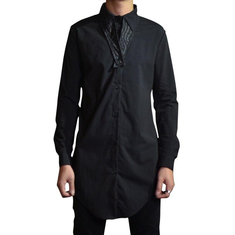 Autumn Men's Fashion Slim Shirt Personality Long Black Men's Thin Shirt